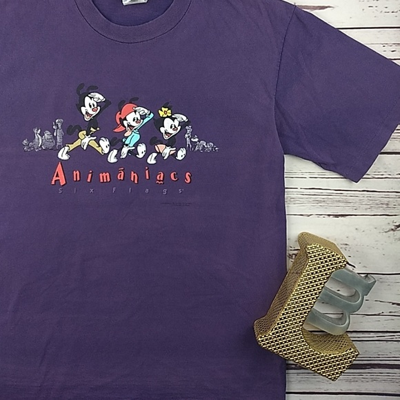 c3c2b541a889 Warner Bros. Six Flags Shirts | Totally Insaney Relic Animaniacs T ...
